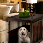 Dog crated in furniture