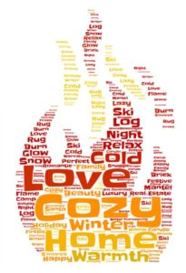 cozy fireplace words flame graphic