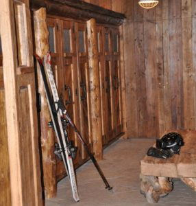 Rustic ski locker room