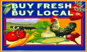 Buy Fresh Buy Local Farmer's Market graphic with veggies and fruit