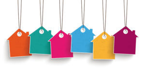 5 colored price sticker houses on the white background.