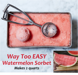 Watermelon Sorbet in a loaf pan with a scooper