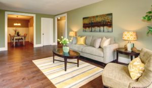 living room staged for online sale