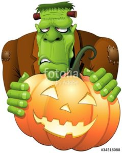 Frankenstien monster holding a jack o lantern