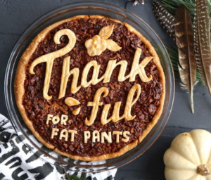 Pecan pie with Thankful for Fat Pants as crust