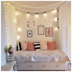 Teenage room with lights over the bed