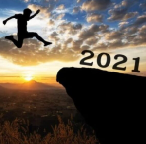 Man leaping in the sky toward 2021